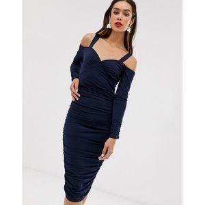 AX Paris Cold Shoulder Midi Dress